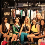 Miss World Canada Delegates take a break while shopping at Pacific Centre with Chaperone Karen Wepryk.