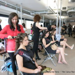 Miss World Canada 2013 delegates Alyssa Piazza & Kara Granger getting their hair done.
