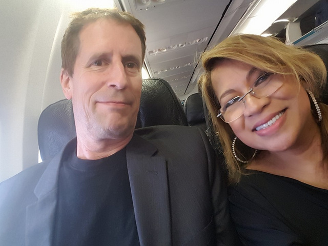 Steve and Luisa on the plane to LA.